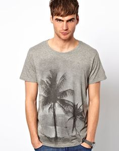 Selected T-Shirt With Palm Tree Print