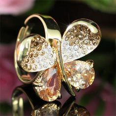 Gold Butterfly Ring with Austrian Crystal