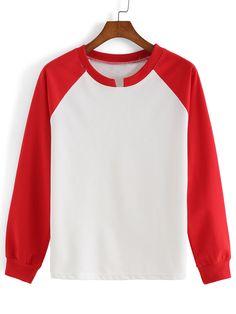 Long Sleeve Color-block Loose T-shirt