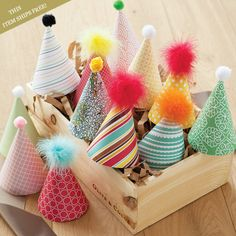 "Fashionably designed ""chapeau de fete"" make any party extra fun for both children and children at heart."