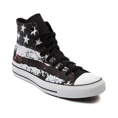 Women's Converse All Star Hi American Flag Athletic Shoe in White. Its the American Flag Converse All Star Hi featuring a canvas upper with weathered stars and stripes print and durable rubber outsole.