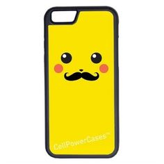 CellPowerCasesTM Pikachu With Mustache iPhone 6 (4.7) V1 Black Case ($9.98) ❤ liked on Polyvore featuring accessories, tech accessories, phone cases, black, phones and technology