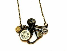 Steampunk Octopus Sea Creature Pendant Necklace by OneStopSteamShoppe #steampunk #octopus #jewelry