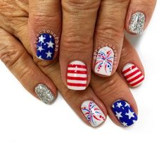 Red white and blue nails. USA. Ready for Fourth of July @PreciousPhanNails