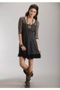 Women's Charcoal Stretch Lace Dress Stetson Ladies Collect Western Clothing