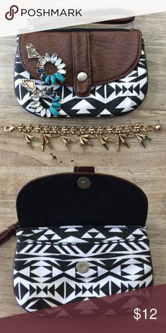 "AEROPOSTALE Mini Clutch Dimensions: 6"" x 4"". Perfect for any outfit. Could also be used as a coin purse. Black and white Aztec print and dark brown faux leather Aeropostale Bags"