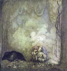 One of John's favourites is Humpe, a small troll with a gentle disposition and a longing for the light world of people. Humpe is almond-eyed, snub-nosed and red-haired like a little faun. He first appeared in 1912, in the fairytale Trollsonen som hade solögon och vart skogsman - a romantic saga about a troll-boy that appealed to John. John returned to Humpe in works such as the late watercolour Moderskärlek (Mother love), painted in 1917.