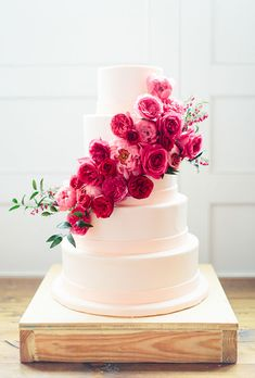 Wedding Cakes with Flowers: Five-Tiered Wedding Cake with Cascading Pink Flowers