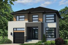 This contemporary design floor plan is 1863 sq ft and has 4 bedrooms and has 1 bathrooms. Minimalist House Design, Small House Design, Minimalist Home, Vestibule, House Front, My House, Custom Home Plans, Two Storey House, Porche