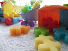 Jig Saw Puzzle Soap, red, yellow, blue, green.  Soap art by Scentcosmetics £3.50