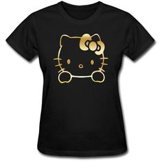 Hello Kitty Vinyl Decal Gold Logo Women's Cotton T-shirt Black at... ($17) ❤ liked on Polyvore featuring tops, t-shirts, hello kitty, vinyl t shirt, vinyl top, hello kitty top and hello kitty t shirt