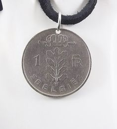 1952 Belgium Coin Necklace, 1 Franc, Coin Pendant, Leather Cord, Vintage, Leather Cord, Mens Necklace, Womens Necklace by AutumnWindsJewelry on Etsy