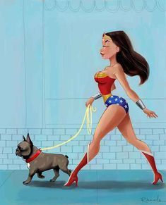 Wonder Woman walking a French Bulldog by rubenacker on Etsy, $18.00