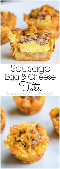 Homemade Sausage and Egg Breakfast Tots! This is one of the best brunch recipes ever. These Sausage Egg and Cheese Breakfast Tots are tater tots filled with sausage, cream cheese, and scrambled eggs! A bite size brunch recipe that would be a hit! What's For Breakfast, Breakfast Dishes, Bite Size Breakfast, Breakfast Egg Recipes, Breakfast Appetizers, Tater Tot Breakfast Casserole, Breakfast Ideas With Eggs, Breakfast Muffins, Sausage Casserole