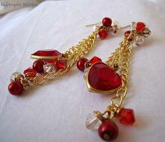Flowing Hearts Earrings ooak Red Swarovski by RainwaterStudios, $18.00