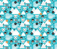 Penguin and polar bear arctic illustration fabric by littlesmilemakers on Spoonflower - custom fabric