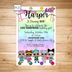 LOL Surprise Dolls Rainbow Birthday Party Invitation  Choose