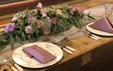 Orchid Shantung Napkins add a bit of glam to this rustic tablescape - Shoot by Red Carpet Events