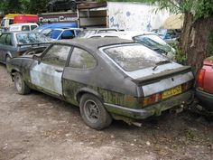 Ford Capri in a scrapyard :( Abandoned Cars, Abandoned Vehicles, Ford Rs, Car Barn, Ford Capri, Rusty Cars, Ford Classic Cars, Ford Escort, Barn Finds