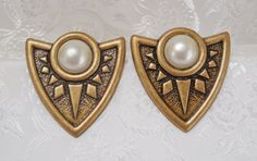 80s Vintage Earrings BOHO Antiqued Brass & by KKCollectibleCollage, $3.50