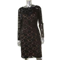 Lauren Ralph Lauren Womens Lace Long Sleeves Cocktail Dress