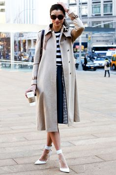 White Heels & Stripes- Great Seattle spring look- brighten these muted streets.