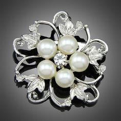 2PCS Rhinestone Brooch Pearl Crystal Brooch Bridal от Vickiscabs