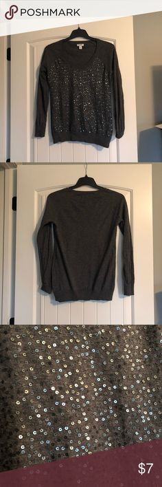 Old Navy Gray Sequin Sweater Gray sweater with sequins on front. In excellent condition. Easy to wash (inside out). Smoke free home. Old Navy Sweaters Crew & Scoop Necks