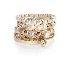 cream pearl pack of bangles - bracelets - jewellery - women - River Island