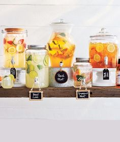 Beverage table ideas perfect for lemonade, punch and sangria See more here: http://www.surlatable.com/product/PRO-1437185/Ombre+Beverage+Jar