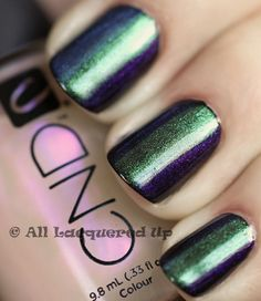 CND Mood Ring Manicure-Black Base, Emerald Shimmer Effect down the middle of the nail, then Ice Blue Shimmer Effect on one side and Violet Shimmer Effect on the other side. Slightly overlap the three to blur the lines between colors.