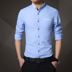 Men's Shirts Fashion Brand Clothing Mens Short Sleeve Shirt 2017 Summer New Mandarin Collar Slim Fit Shirt Casual Shirt Men Clothes Casual Shirts For Men, Men Casual, Casual Wear, Formal Casual, Men Formal, Stand Collar Shirt, Men Dress, Shirt Dress, Shirt Outfit
