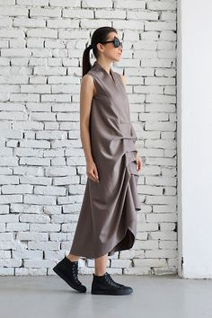 Coral Dress / Asymmetric Beige Dress/ Extravagant by Metamorphoza