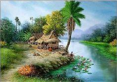 Love the river Landscape Pencil Drawings, Watercolor Landscape, Landscape Paintings, Farmer Painting, Rajasthani Art, Green Scenery, Art Village, Nature Artwork, Tropical Art
