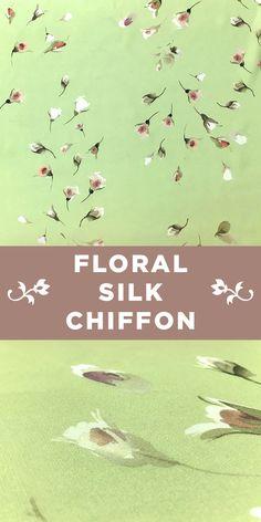 Painterly Falling Rosebud Print on Green Silk Chiffon #Apparel #Spring #Minimal