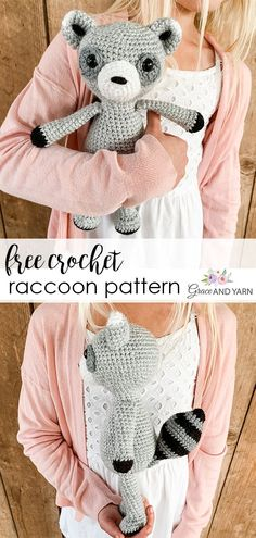 Step by step free crochet raccoon pattern! Great pattern for beginners with photo tutorial to help along the way! Crochet Home, Crochet Gifts, Cute Crochet, Crochet Yarn, Crochet Dolls, Crochet Animal Amigurumi, Amigurumi Patterns, Crochet Animals, Amigurumi Toys