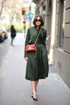 Jacket and skirt: Nuè Notes. Sweater: Samsøe & Samsøe. Bag and shoes: Gucci. | Darja Barannik