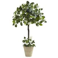 The Madagascan Nearly Natural Stephanotis Topiary is known for its rich white flowers and handsome leaves. This silk topiary version will always be. Boxwood Topiary, Topiary Trees, Potted Trees, Topiaries, Potted Plants, Topiary Decor, Flowering Trees, Artificial Topiary, Artificial Plants