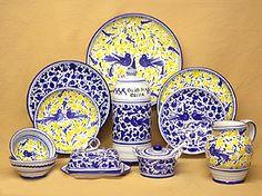 Majolica Arabesco Blue and Blue & Yellow Dinnerware Arabesco