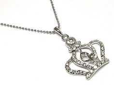 BABY PHAT WHITE GOLD PLATED CRYSTAL CROWN NECKLACE! FREE SHIPPING! PHOTON GIFT