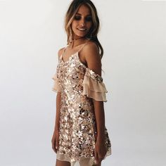Glitter Off Shoulder Frill Dress
