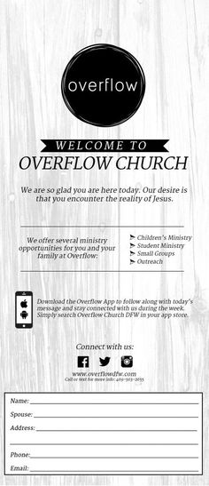 Overflow Church Connect Card
