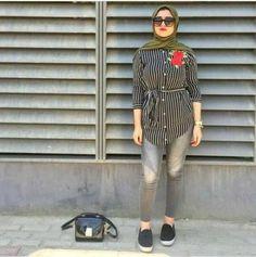 Striped shirt hijab look-Street fashion style – Just Trendy Girls