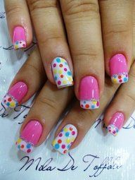 Polka dot nails · 2017 nail art · easter nails - i guess this is kind of the new thing. Fancy Nails, Love Nails, Pretty Nails, My Nails, Dot Nail Art, Polka Dot Nails, Polka Dots, Pink Nail, White Nails