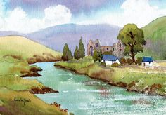 Original Watercolour Tintern Abbey On The by Pamelajonesartstudio, £40.00