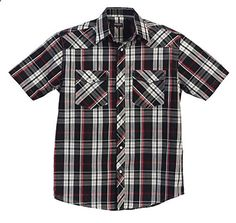 Gioberti Mens Casual Western Plaid Snap Button Short Sleeve Shirt, Black Red Checked : 3X Large  Go to the website to read more description.