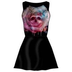 Mortem Rose Skull Rose Skater Dress by Cold Heart ($32) ❤ liked on Polyvore featuring dresses, mixed print dress, heart print dress, pattern dress, stretchy dresses and stretch dresses