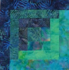 12 Block Batik Fabric Log Cabin Quilt Kit Pacific Nights Pre Cut ...