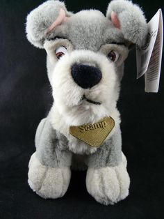 """Disney Store Scamp Sitting Stuffed Pup 7.5"""" Lady And The Tramp Metal Name Tag #Disney"""