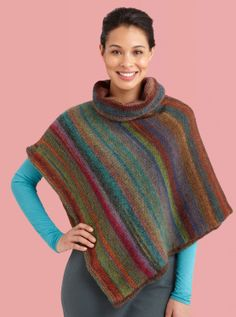 the simplest way to make a poncho: knit a long rectangle, fold in half,  partially seam along on side leaving an opening for the neck...  Cowl Neck Striped Poncho - lionbrand.com